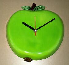 Pendule POMME VERTE en CÉRAMIQUE déco cuisine FONCTIONNE clock green apple