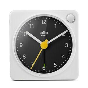 Braun Classic Travel Analogue Alarm Clock with Snooze and Light BC02XWB