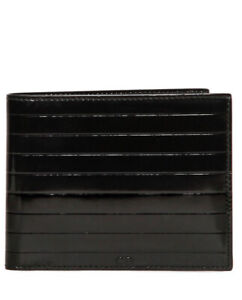 DIOR HOMME pleated LEATHER bifold WALLET RARE card £380 patent BOX