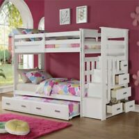 ACME Furniture Allentown Twin over Twin Bunk Bed with Trundle in White