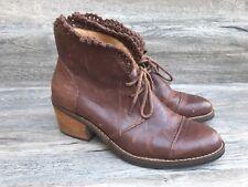 Anthropologie Latigo KAT Ankle Boots Women's 8M Brown Crochet Trim Lace Up Shoes