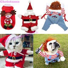 Pet Dog Cat Christmas Warm Clothes Costumes Puppy Winter Santa Claus Coat Dress