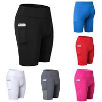 Women Fitness Sports Soft Leggings Elastic Running Gym Pocket Short Pants GW