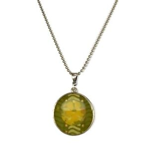 Antique Silver Plated Olive Green & Dijon Yellow Flower Pendant Necklace, Simple