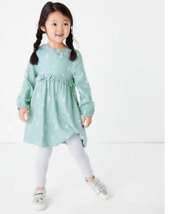 BNWT M&S Girls Light Green Long Sleeved Tree Print Dress 4-5 Years