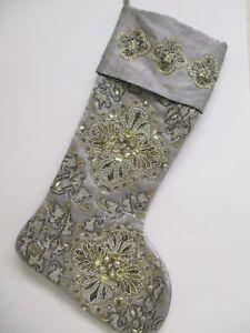 "Silver Beaded Christmas Stocking 19"""