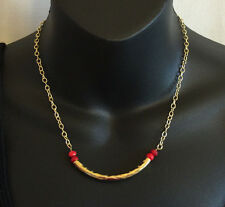 Barse Tubular Bronze Red Howlite Stone Bright Bronze Necklace
