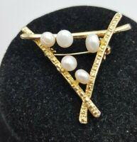 Vintage Goldtone Mid Century Modern Triangle & Cultured Pearl Brooch