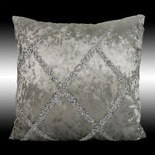 SHINNY SILVER CROSS DECO SMOOTH GREY VELVET THROW PILLOW CASE CUSHION COVER 17""
