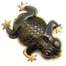 "Brooch Green Frog Bakelite on Brass Vintage 2 3/8"" Big"