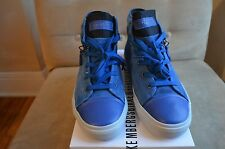 BIKKEMBERGS BLUE WHITE SUEDE ANTRA LEATHER MID ZIPPER TOP SNEAKERS SHOES 41 8