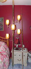 Brass Tension Pole Lamp 5 Lights Amber Glass Globes + Matching Pole for Plants