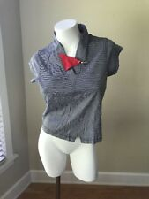 JAMIE SADOCK Black White Tennis SPORT GOLF TOP shirt Small Cap Sleeve Red