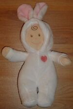 """Baby Ganz Easter Bunny White & Pink Baby Doll toy 9"""" soft plush"""