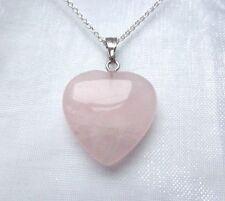 """Pretty ROSE QUARTZ HEART PENDANT - 16"""" SILVER Chain Necklace - Silk Pouch - GIFT"""