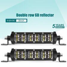 2x 8inch Car Spot Beam Slim LED Work Light Bar 6D Road Lamp for Truck SUV ATV