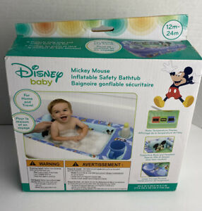 Disney Mickey Mouse Inflatable Safety Bathtub, Blue 12m-24m New