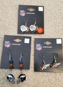 Denver Broncos-- 3 Pair Earrings