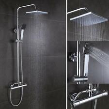 Bathroom Shower Mixer Thermostatic Twin Head Chrome Exposed Valve Round Set UK
