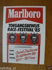 FLYER MARLBORO RACE-FESTIVAL 1985 CIRCUIT ZANDVOORT