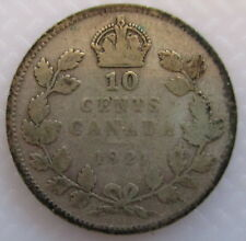 1921 CANADA 10¢ KING GEORGE V SILVER DIME COIN