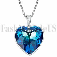 Womens Silver Czech Heart Made with Swarovski Elements Crystals Pendant Necklace