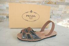 PRADA Gr 39 Sandalen sandals Schuhe Lack 1X737F brandy + schwarz NEU UVP 370 €
