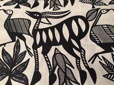 African Dogon Tribal Gazelle Fabric~Black & White, Mali Import, 100% Cotton, BTY