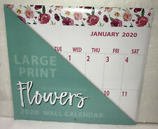 "2020 Wall Calendar Large Print Flowers 11""x12"" New Sealed"