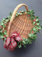 Large Basket Woven Brown Wicker Basket Handle Holiday Decor Red Bow Christmas