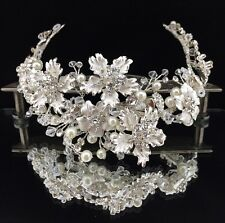 Stunning Bridal Pageant with Pure Clear Swarovski Crystal & Pearl Crown Tiara