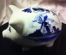 Delft Blue Hand painted From HOLLAND Piggy Bank 3x4 1/2