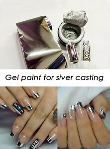 Silver Gel paint and Silver Foil for Metallic Manicure Foil Nails Nail Art
