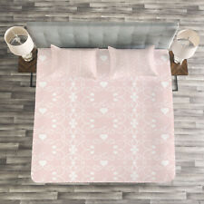 Pink and White Quilted Bedspread & Pillow Shams Set, Victorian Girly Print