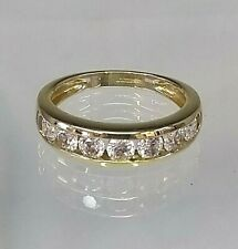 Vintage 1/2 Eternity Ring 14ct Yellow Gold Diamond simulant Pristine Condition