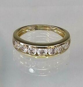 Vintage 1/2 Eternity Ring 14ct Yellow Gold Diamond simulant Pristine Condition