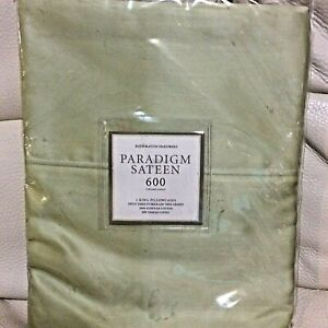 Restoration Hardware 2 Italian Paradigm 600 Sateen Std Pillowcases Celery Green