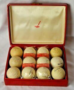 6 Vintage Titleist Acushnet Golf Balls w/ Acushnet Display Case