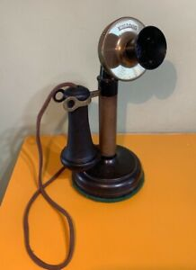 Vintage Kellogg Candle Stick Phone Brass and Bakelite...