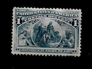 US 1893 Sc# 230 1 c  Fleet of Columbus Mint HR - Vivid Color