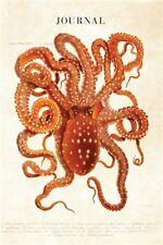 Journal Vintage Scientific Illustration Giant Red Octopus - O by Designer Notebo