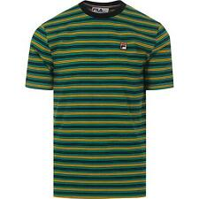Fila Men Cotton Crew neck Short Sleeve Green Black Stripe Retro Logo T shirt Top