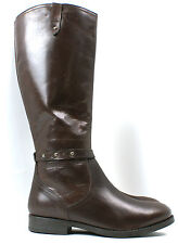 LADIES WOMENS NEW REAL LEATHER RIDING BIKER KNEE HIGH ZIP UP BOOTS SHOES SIZE