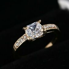 Fashion Ring Gold Sparkle Wedding White Sapphire Engagement Bride Jewelry Size 8