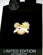 LE Disney Pin✿Tink Tinker Bell Love Heart Celebration Banner Mickey Icon Head LE