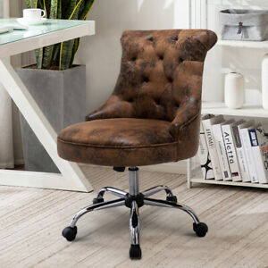 Adjustable Swivel Computer Desk Chair Distressed Leather Office Gas Lift Chair