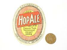 More details for 1930's original hop ale kent hops non-alcoholic bottle label  #r56