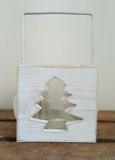 Rustic Whitewash Christmas Tree Cut Out Candle Holder Shabby Chic Festive