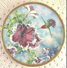 Anna's Hummingbird & Petunias Plate Cyndi Nelson 7th Issue Gems Of Nature Mint