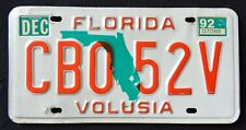 "FLORIDA "" GREEN MAP - VOLUSIA - CBO 52V "" 1992 FL Vintage Classic License Plate"